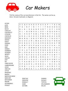 Car word search free 001