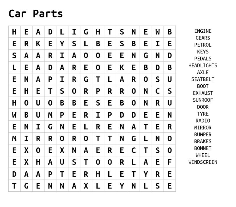 Car Word Search Parts