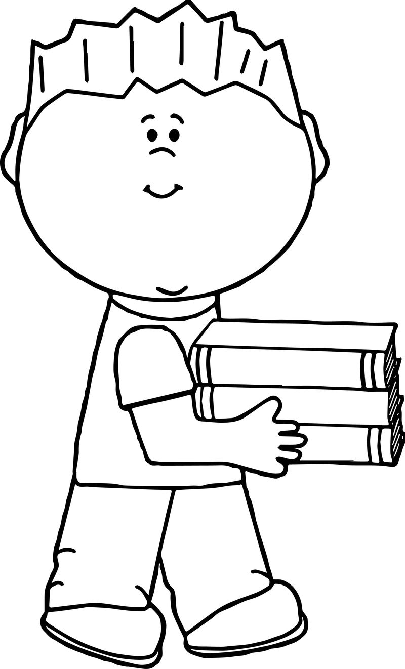 Carrying Boy Kids Coloring Page