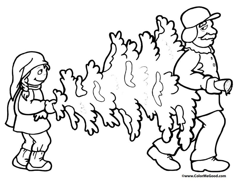 Carrying The Christmas Tree Home Coloring Page