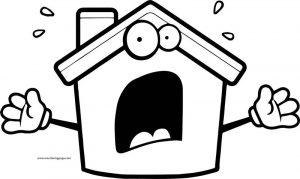 Cartoon agitated home coloring page