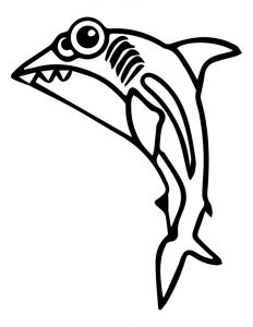 Cartoon animal cuttle sweety pretty shark coloring page