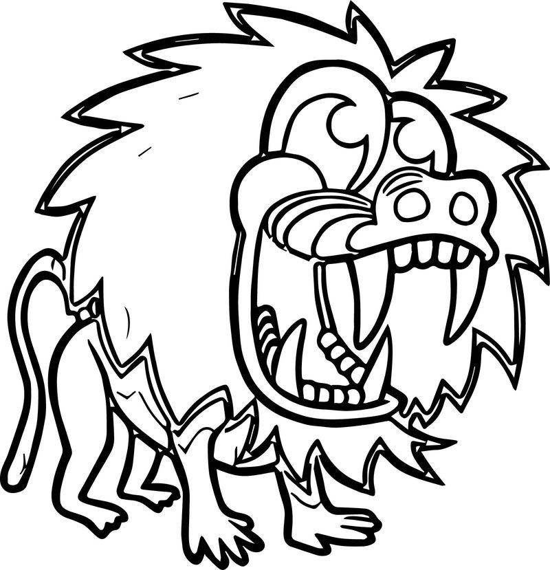 Cartoon Baboon Party Coloring Page