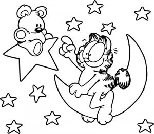 Cartoon bear garfield star coloring page