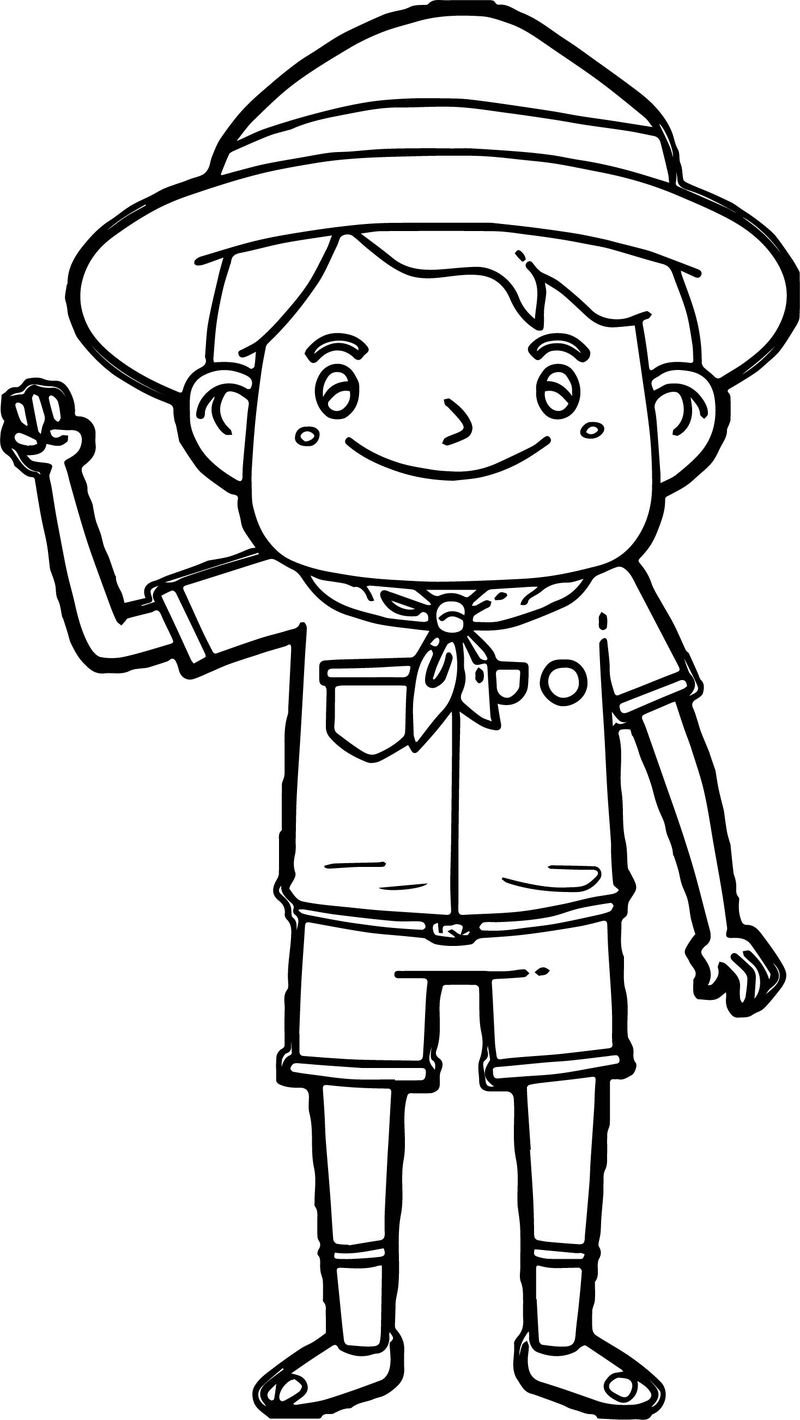 Cartoon Boy Scout Meals Free Camping Coloring Page
