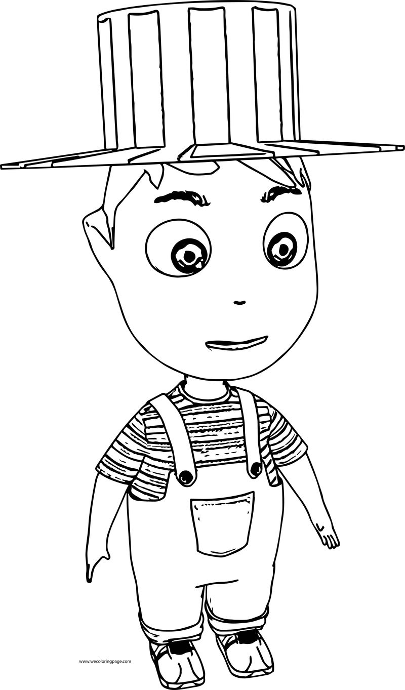 Cartoon Boy With Hat Coloring Page 001