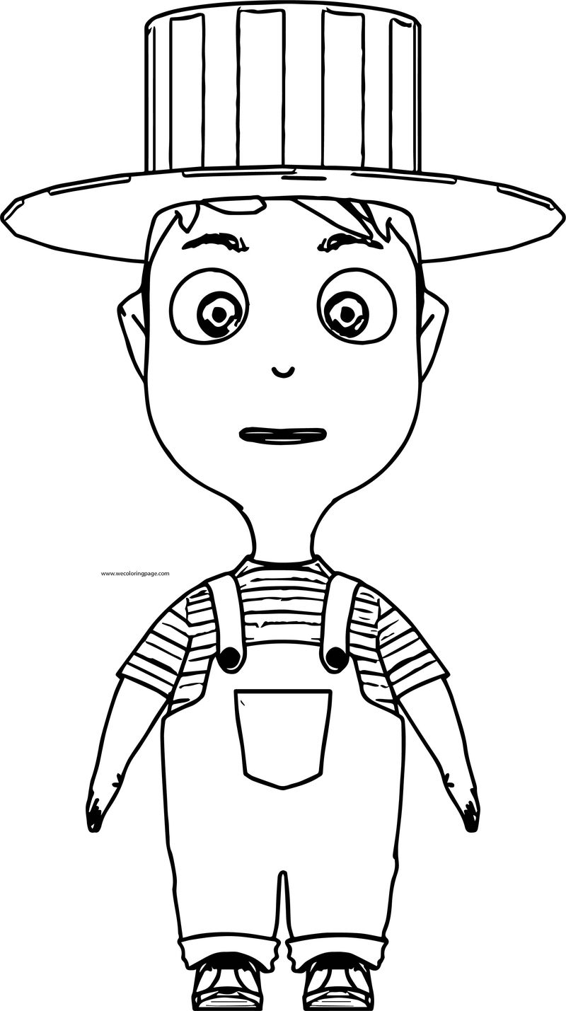 Cartoon Boy With Hat Front View Coloring Page