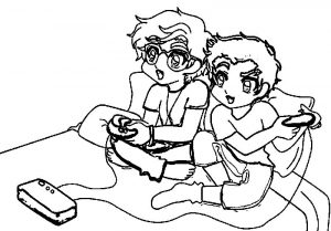 Cartoon boys playing video games playing computer games coloring page