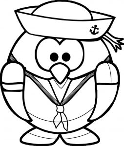 Cartoon captain penguin coloring page