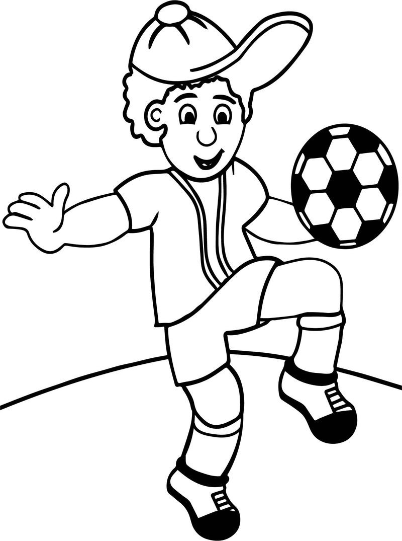 Cartoon Child Playing Football Toots Hallam Playing Football Coloring Page