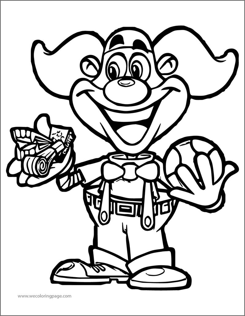 Cartoon Clown Funny A4 Printable Coloring Page