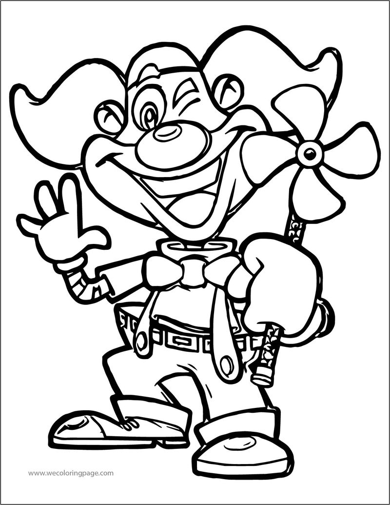 Cartoon Clown Wind A4 Printable Coloring Page