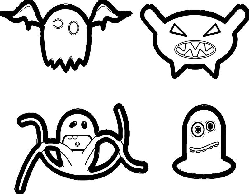 Cartoon Collection Fantasy Cute Cartoons Monster Coloring Page