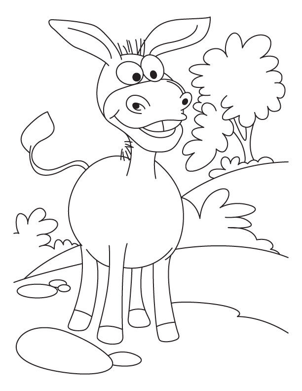 Cartoon Donkey Coloring Pages