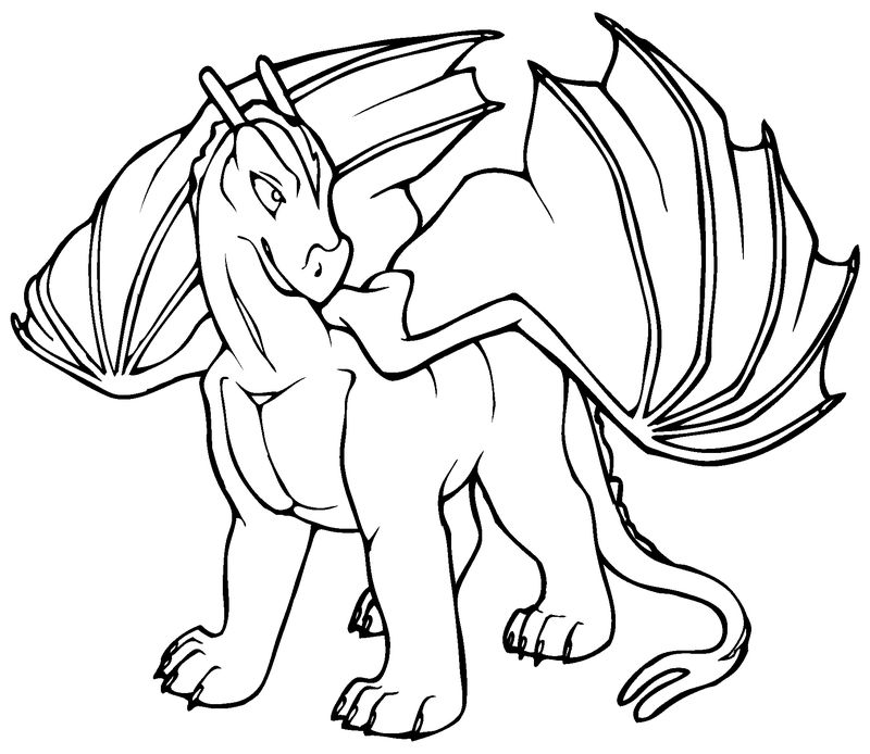 Cartoon Dragon Coloring Pages 001