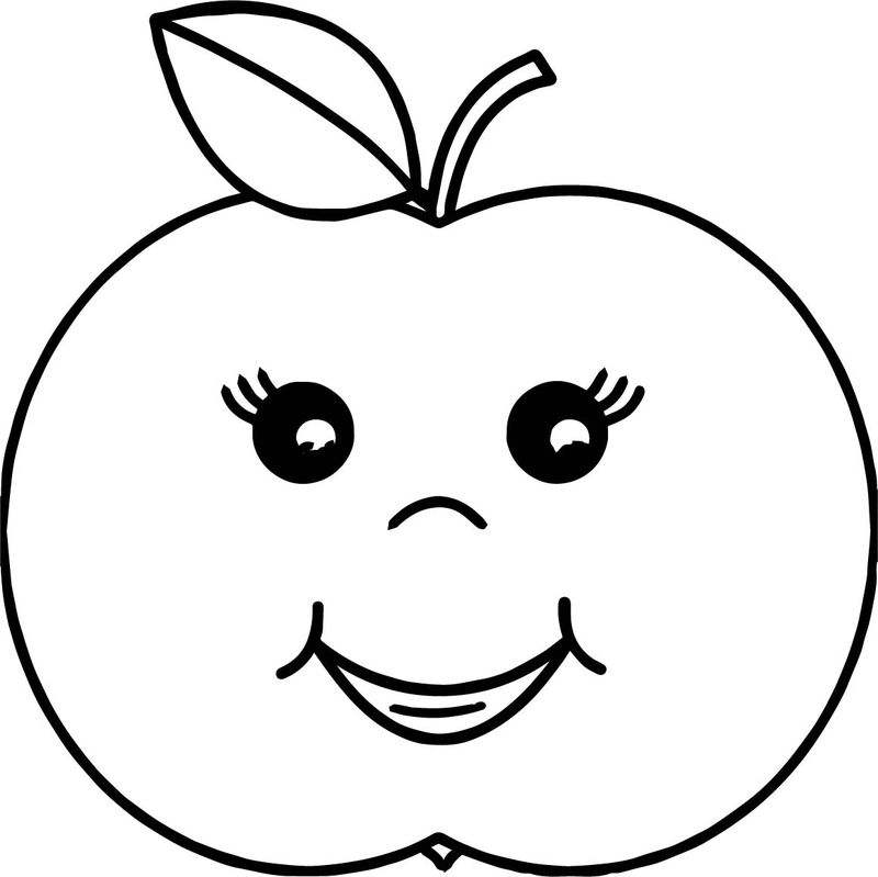 Cartoon Girl Apple Coloring Page 001