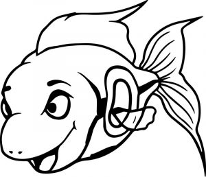 Cartoon good fish sheet coloring page
