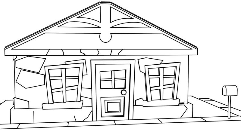Cartoon House Front View Coloring Page