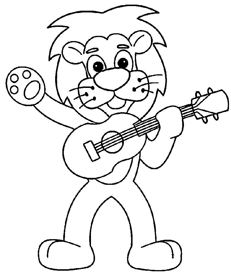 Cartoon Lion Playing The Guitar Coloring Page