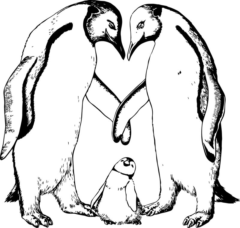 Cartoon Penguin Happy Feet Family Coloring Page