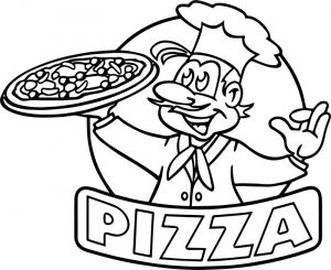 Cartoon picture of pizza coloring page