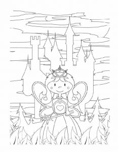 Cartoon princess and castle coloring pages