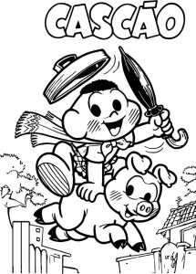 Cascao boy and pig coloring page