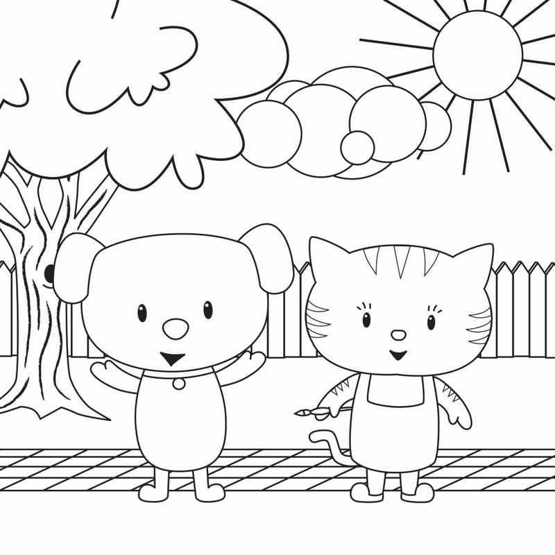 Cat And Dog Cartoon Coloring Page