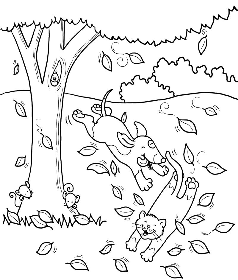 Cat And Dog Fun Coloring Page
