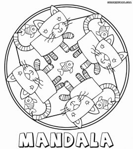Cat and fish mandalas for kids to color