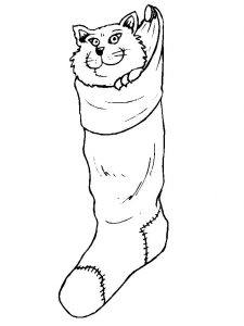 Cat christmas stocking coloring pages 001