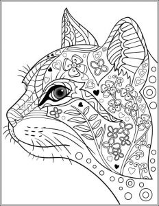 Cat coloring pages for adults 1