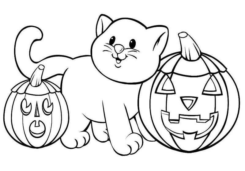 Cat Halloween Pumpkins Coloring Page