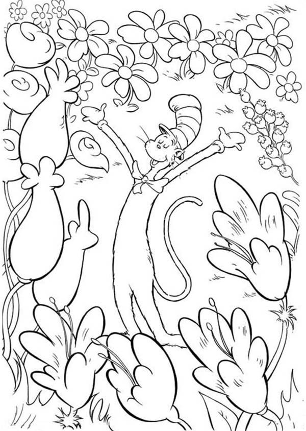Cat In The Hat Loves Flowers Coloring Pages