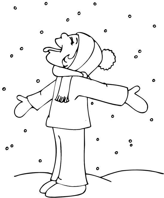 Catching Snowflakes In Winter Coloring Page