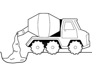 Cement truck for building construction coloring picture
