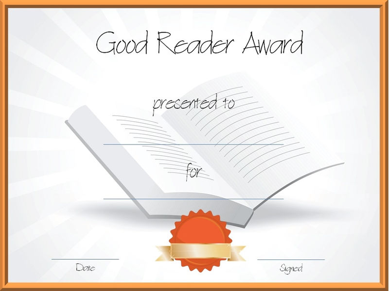 Certificate For Good Reading Award 001