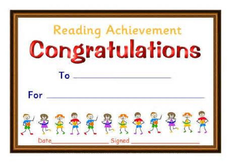 Certificate For Good Reading Printable 001