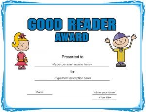 Certificate for good reading template 001