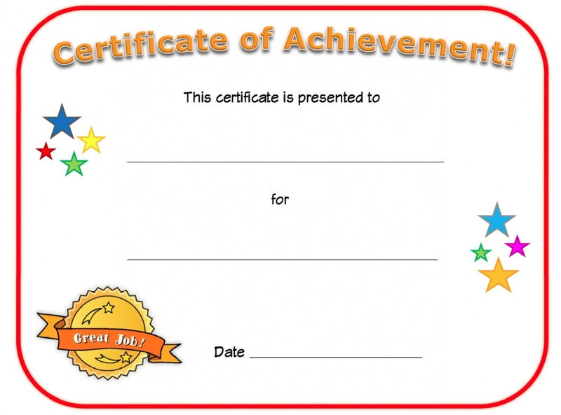 Certificate Of Achievement Blank 001