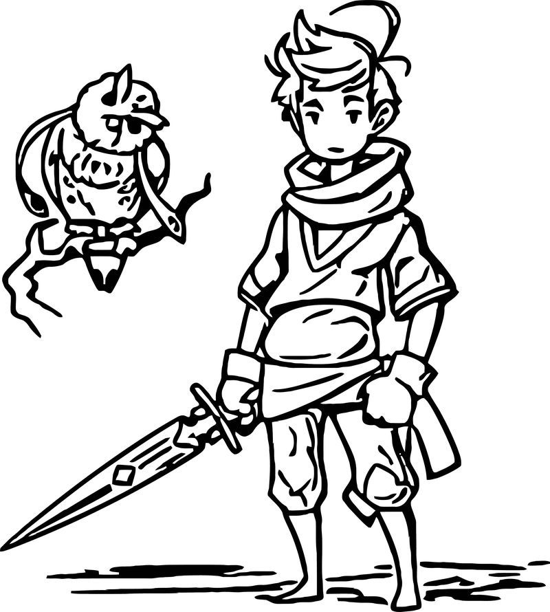 Character Design Hero And Mysterious Owl Coloring Page 001