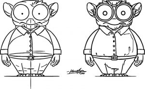 Character design tarsier cartoon coloring page