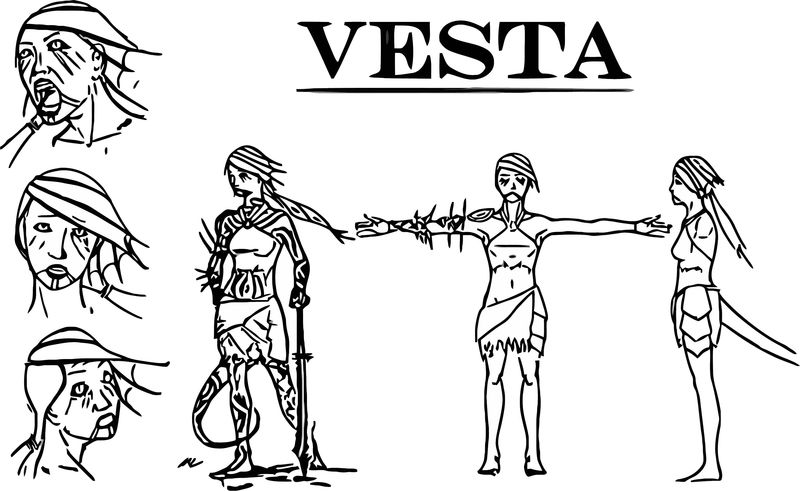 Character Design Vesta Mlstudios Cartoon Coloring Page