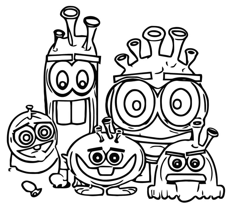 Character Designs Different Creatures Cartoonized Coloring Page
