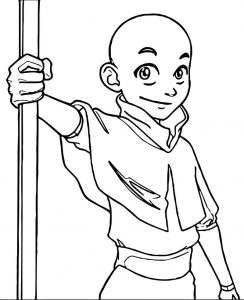 Character large x aang avatar aang coloring page