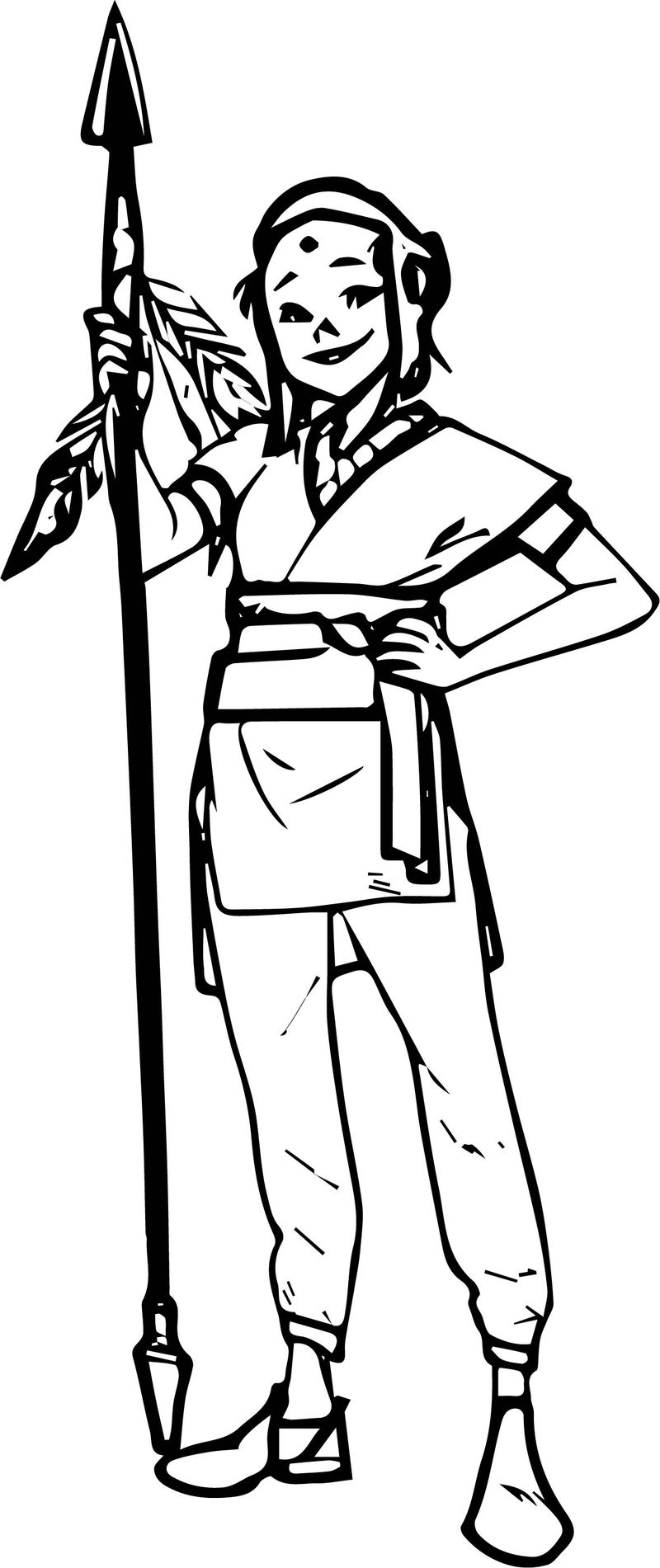 Character Warrior Woman Coloring Page
