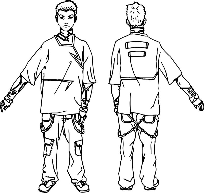 Characters Man Back Front Coloring Page