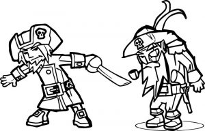 Characters pirate and warrior coloring page