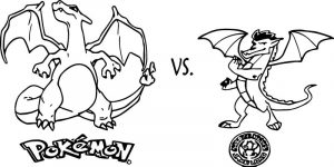 Charizard vs american dragon jake long coloring page