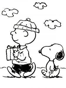 Charlie brown christmas present coloring page